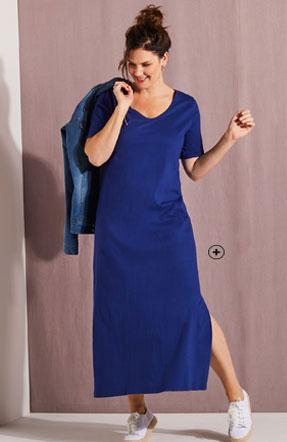 Lange blauwe jurk met split, korte mouwen en V-hals in katoen voor grote maten Isabella®, goedkoop - Blancheporte