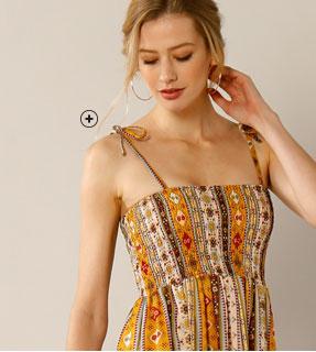 Lange oranje-bruine bustierjurk met fijne bandjes in uitlopend model Lady Kréation®, goedkoop - Blancheporte