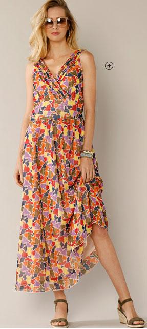 Lange jurk met veelkleurige vlekkenprint en V-hals in wikkelstijl Lady Kréation®, goedkoop - Blancheporte