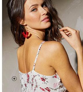 Lange jurk met stroken, roze bloemenprint, fijne bandjes en V-hals Lady Kréation®, goedkoop - Blancheporte
