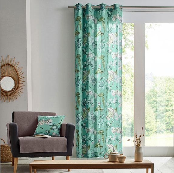 Groen gordijn voor woonkamer met bloemenprint en oogringen in katoen Colombine®, goedkoop - Blancheporte