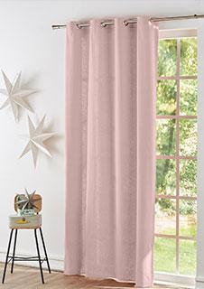 Lichtroze gordijn voor woonkamer met oogringen in katoenen zeildoekstof Colombine® Oeko-Tex®, goedkoop - Blancheporte