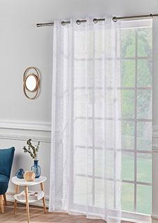 Wit paneelgordijn voor woonkamer met fijne strepen en oogringen, goedkoop - Blancheporte
