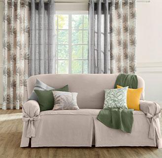 Beige en grijs gordijn voor woonkamer met palmboomprint en oogringen in katoen Oeko-Tex®, goedkoop - Blancheporte