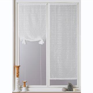 Wit glasgordijn met fijne strepen en sleuf voor gordijnroede, goedkoop - Blancheporte