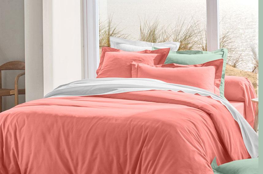 Parure linge de lit unie corail coton Oeko-Tex® Colombine® pas cher - Blancheporte
