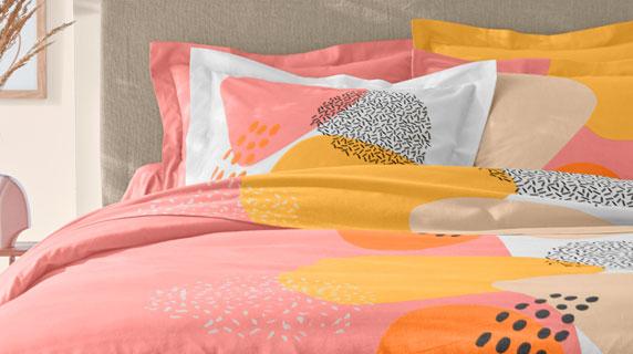 Parure linge de lit corail et jaune imprimé coton Oeko-Tex® Colombine® pas cher - Blancheporte