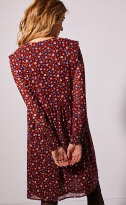 Robe mi-longue rouge imprimée évasée voile manches longues pas cher - Blancheporte