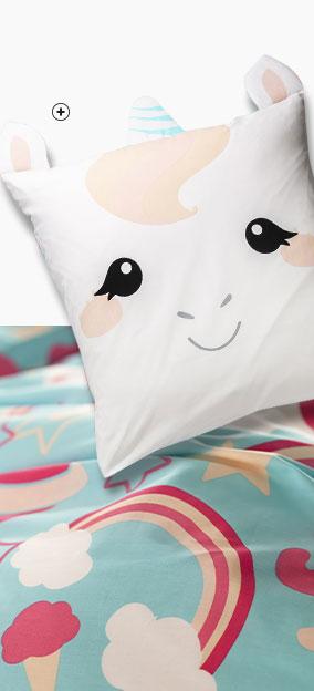 Parure linge de lit enfant rose et bleu motif Licorne coton biologique éco-responsable Oeko-Tex® Colombine des Petits® pas cher - Blancheporte