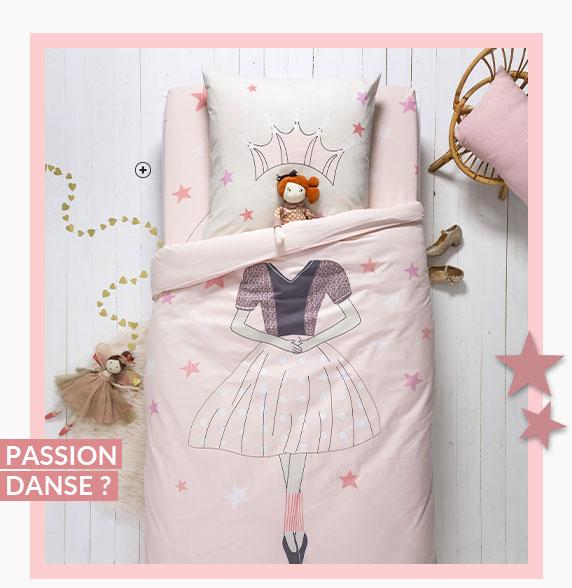 Parure linge de lit enfant rose motif danseuse princesse coton Oeko-Tex® Colombine des Petits® pas cher - Blancheporte
