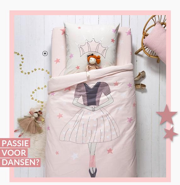 Roze bedlinnenset voor kinderen met dansende prinses in Oeko-Tex® katoen Colombine Kids®, goedkoop - Blancheporte