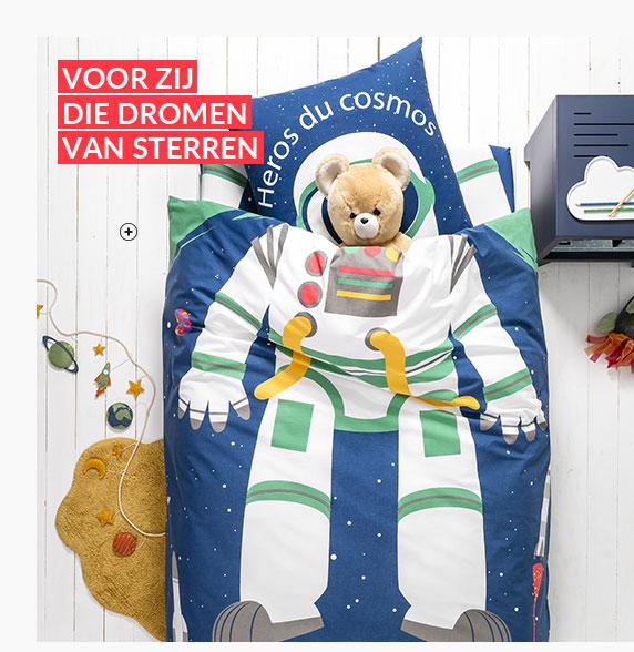 Blauw bedlinnen voor kinderen met astronautmotief in katoen - goedkoop - Blancheporte