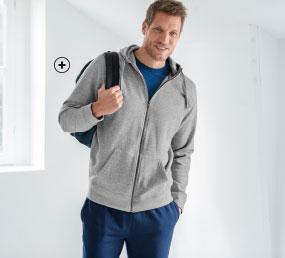 Grijze herensweater in molton met rits, kap en lange mouwen, goedkoop - Blancheporte