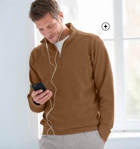Bruine herensweater in molton met truckerskraag met rits en lange mouwen Colors & Co®, goedkoop - Blancheporte