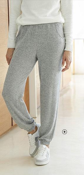 Grijze joggingbroek voor dames in ribtricot met elastische taille, goedkoop - Blancheporte