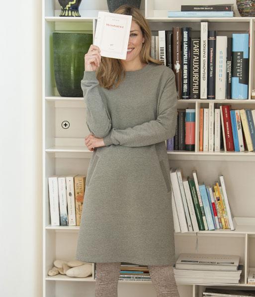 Grijze sweaterjurk voor dames in molton met recht model, ronde hals en lange mouwen, goedkoop - Blancheporte