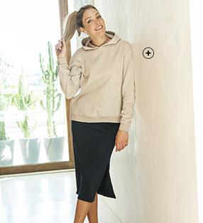 Beige damessweater in molton met kap, lange mouwen en loose model, goedkoop - Blancheporte