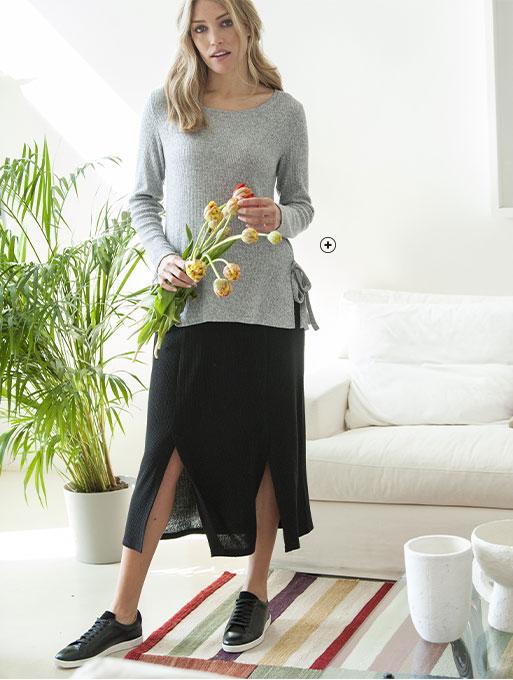 Grijs T-shirt voor dames in ribtricot met splitjes, lange mouwen en ronde hals, goedkoop - Blancheporte