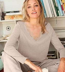 Beige T-shirt voor dames met V-hals, kant en lange mouwen, goedkoop - Blancheporte