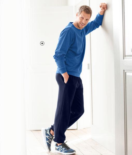 Blauwe herensweater in molton met ronde hals Colors & Co®, goedkoop - Blancheporte