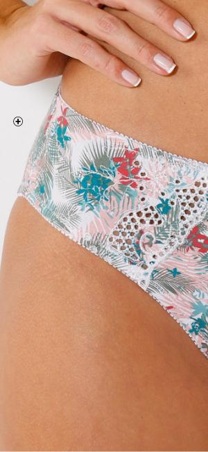 Geborduurde damesslip in katoen met tropische bladerenprint Confidence Lingerie®, goedkoop - Blancheporte