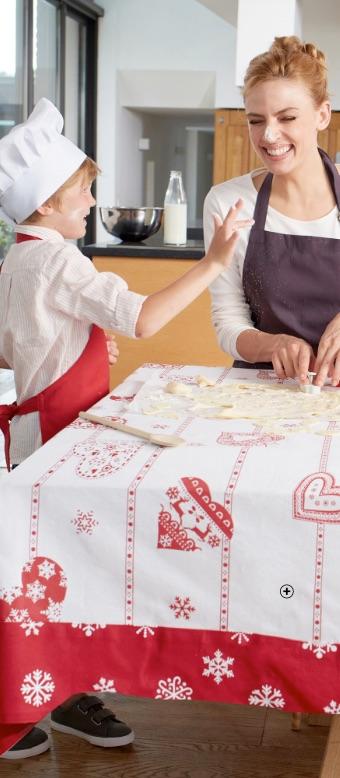 Kersttafellaken met print van hartjes en sneeuwvlokken, goedkoop - Blancheporte