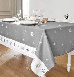 Grijs kersttafellaken met vlokkenprint, goedkoop - Blancheporte