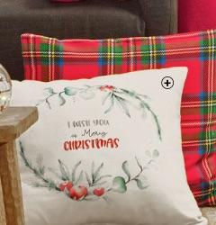 """Decoratieve kussenhoes voor kerst met """"I wish you a Merry Christmas"""" print, goedkoop - Blancheporte"""