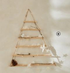 Lichtgevende muurkerstboom met leds in hout en koord, goedkoop - Blancheporte