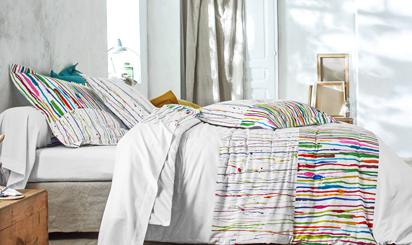 Parure linge de lit blanc imprimé aquarelles coton Oeko-Tex® Colombine® pas cher - Blancheporte