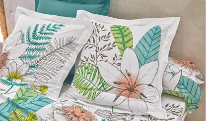Witte bedlinnenset met bloemenprint in katoen Oeko-Tex® Colombine®, goedkoop - Blancheporte