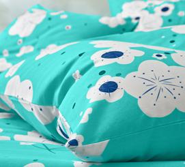 Blauwe bedlinnenset met bloemenmotief Oeko-Tex®, goedkoop - Blancheporte
