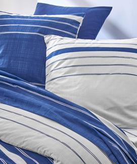 Blauwe bedlinnenset met witte strepen in katoen Oeko-Tex®, goedkoop - Blancheporte