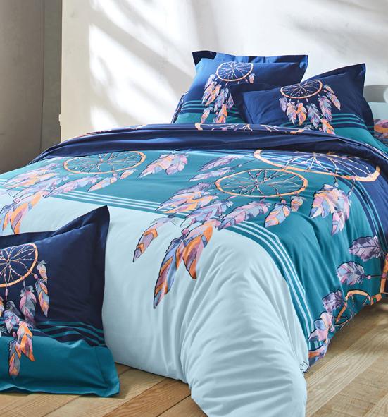 Parure linge de lit bleu imprimé attrape-rêves coton Oeko-Tex® Colombine® pas cher - Blancheporte