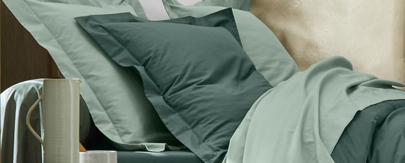 Parure linge de lit vert coton Oeko-Tex® Colombine® pas cher - Blancheporte
