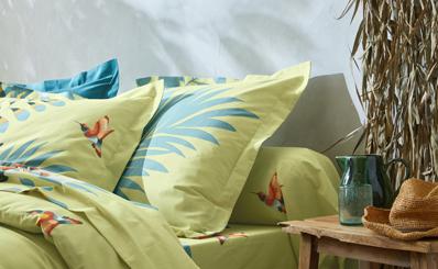 Groenen bedlinnenset met tropische bladerenmotieven in katoen Oeko-Tex® Colombine®, goedkoop - Blancheporte