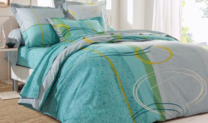 Groenen bedlinnenset met moderne print in katoen Oeko-Tex® Colombine®, goedkoop - Blancheporte