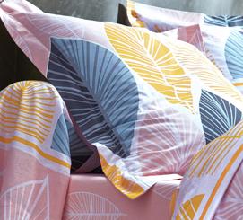 Roze bedlinnenset met bladerenmotief in katoen Oeko-Tex® Colombine®, goedkoop - Blancheporte