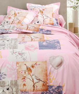 Roze bedlinnenset met vogelprint in katoen Oeko-Tex® Colombine®, goedkoop - Blancheporte
