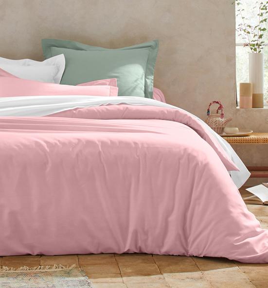 Parure linge de lit rose Oeko-Tex® Colombine® pas cher - Blancheporte