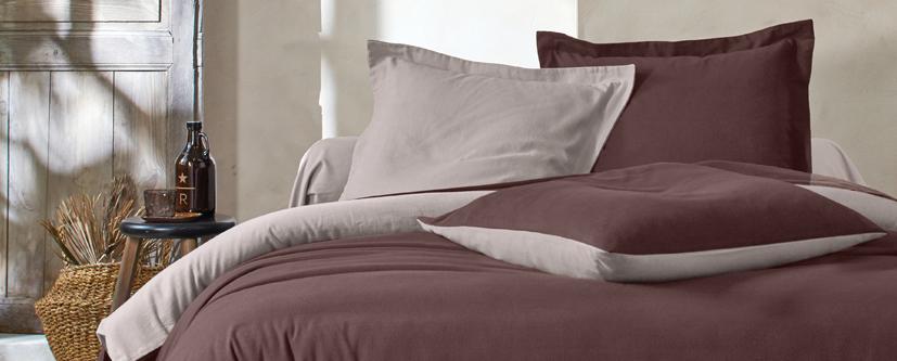 Tweekleurige bedlinnenset in bruin en geel flanel Oeko-Tex® Colombine®, goedkoop - Blancheporte