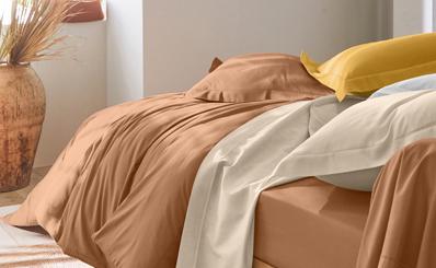 Parure linge de lit marron Oeko-Tex® Colombine® pas cher - Blancheporte