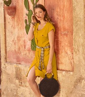 Robe courte jaune saharienne boutonnée en coton avec ceinture - pas cher - Blancheporte