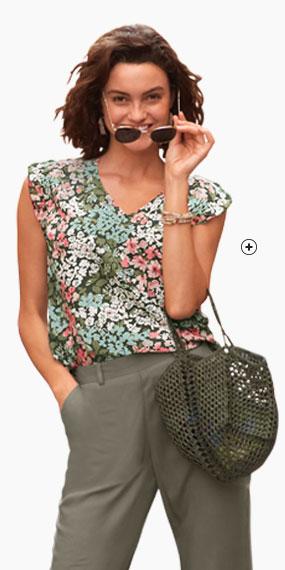 Caraco vert et rose imprimé fleuris col V manches courtes - pas cher - Blancheporte