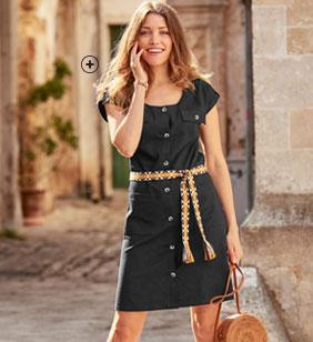 Robe courte noire saharienne boutonnée en coton avec ceinture - pas cher - Blancheporte