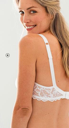 Witte beha met beugels in kanten korfmodel Oeko-Tex® Confidence Lingerie®, goedkoop - Blancheporte