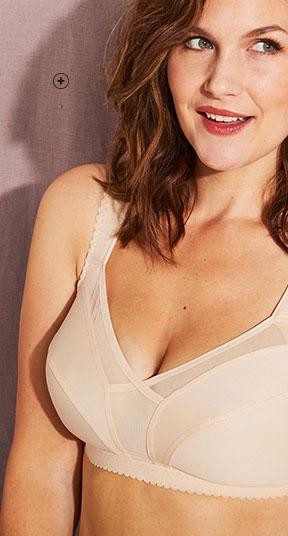 Huidkleurige beha zonder beugels in onzichtbaar minimizermodel voor grote maten Isabella®, goedkoop - Blancheporte