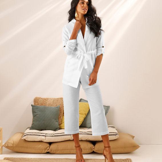 Veste longue blanche lin coton manches longues col tailleur