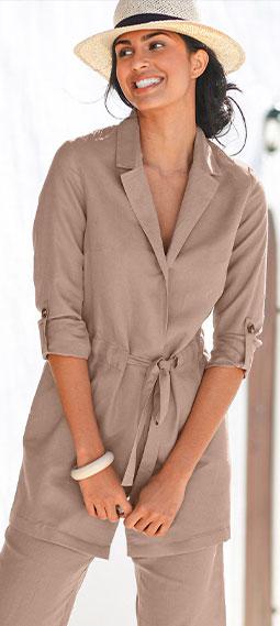 Veste longue taupe lin coton manches longues col tailleur