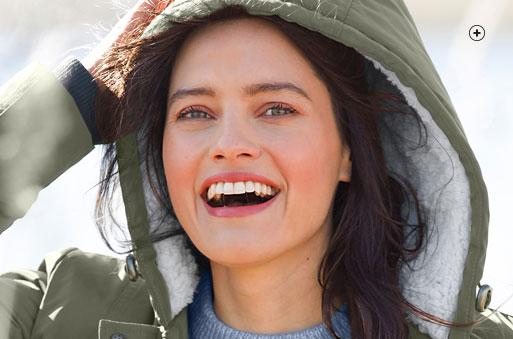 Parka femme mi-longue vert kaki à capuche manches longues déperlant doublée maille peluche pas cher - Blancheporte